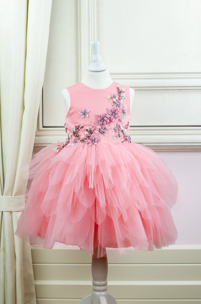Handmade short pink flower girl dress with a multi-layered tutu skirt and top hand-embroidered with flowers and pearls, for flower girls, fairy costume, birthdays and weddings