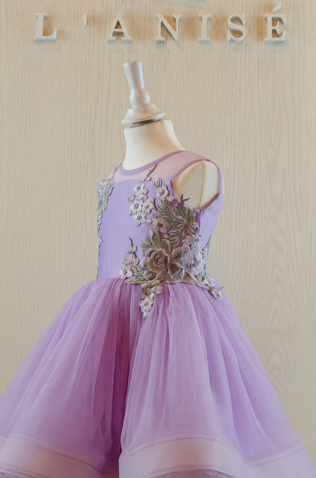 purple tulle girl dress with floral embellishment