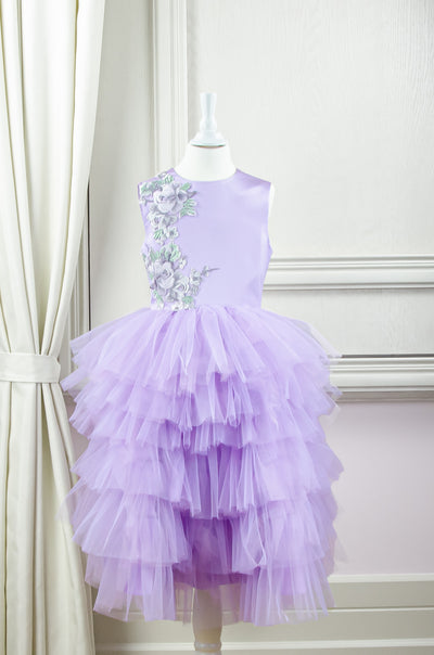 handmade, bright purple flower girl dress with multi-layer tulle skirt and floral embroidery