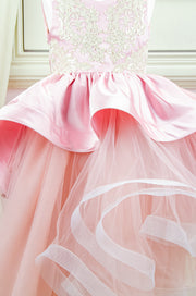 custom made personalised girl birthday dress, long pink tulle gown with asymmetrical tulle skirt, satin train and gold embroidery