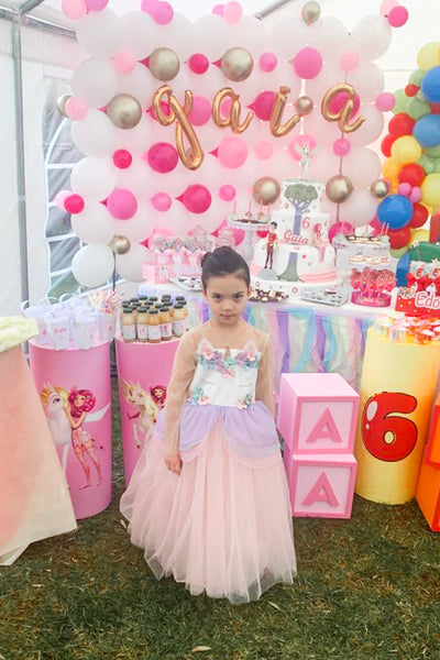 Customised tulle girl dress with unicorn details