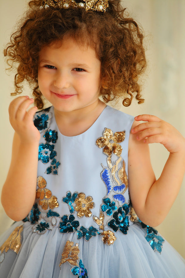 blue girl dress satin upper part with floral embellishment