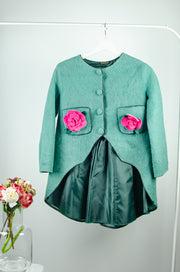 unique handmade emerald green felt fall coat for girls with longer back, magnetic buttons at the front, two pockets and two 3D pink felt roses on the pockets.