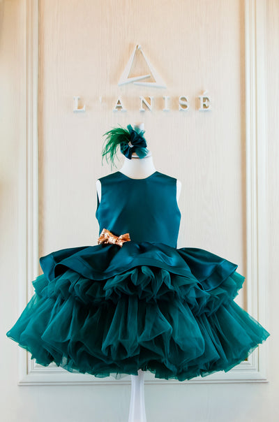 Midi handmade emerald green festive girl dress with multi-layer tulle skirt, gold sequin bow embellishment and hair clip