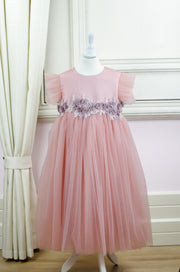 handmade, pink girl dress in empire silhouette with floral embroidery and a bow