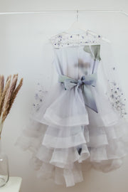 unique, handmade, multi-layered tulle flower girl dress, white, lavender, with transparent sleeves, ribbon at the waist, 3D embellishments, for wedding