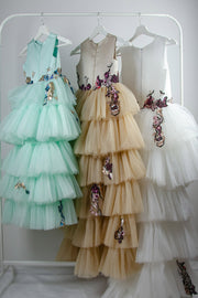 handmade long asymmetrical flower girl dress with a multi-layered tulle skirt in beige, white or mint with flower and sequin embroidery