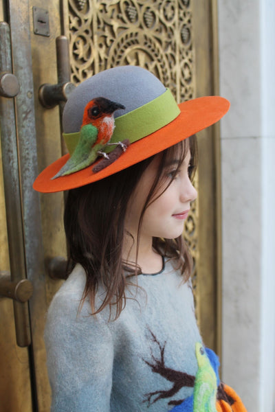 Children's accessoires - children's hat - felt hat - girl hat - orange - gray