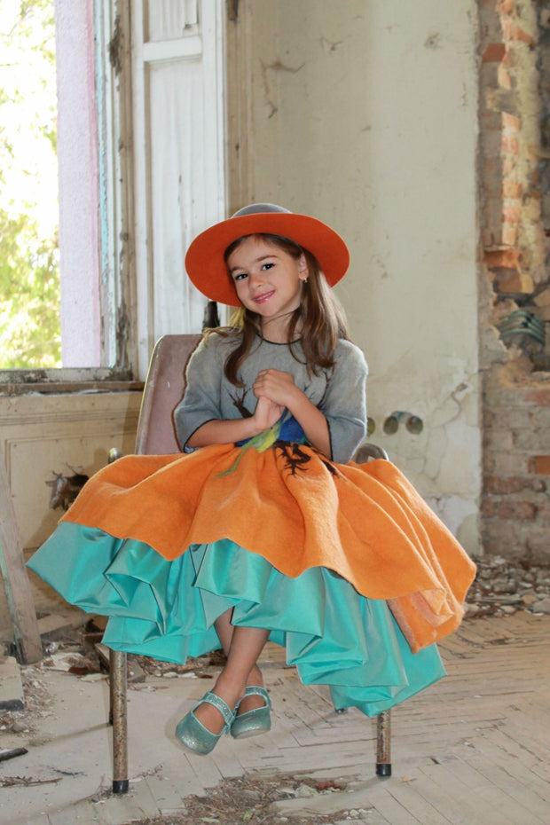 children's clothes - children's dress - winter dress - girl dress - girl clothes - orange - gray - felt dress