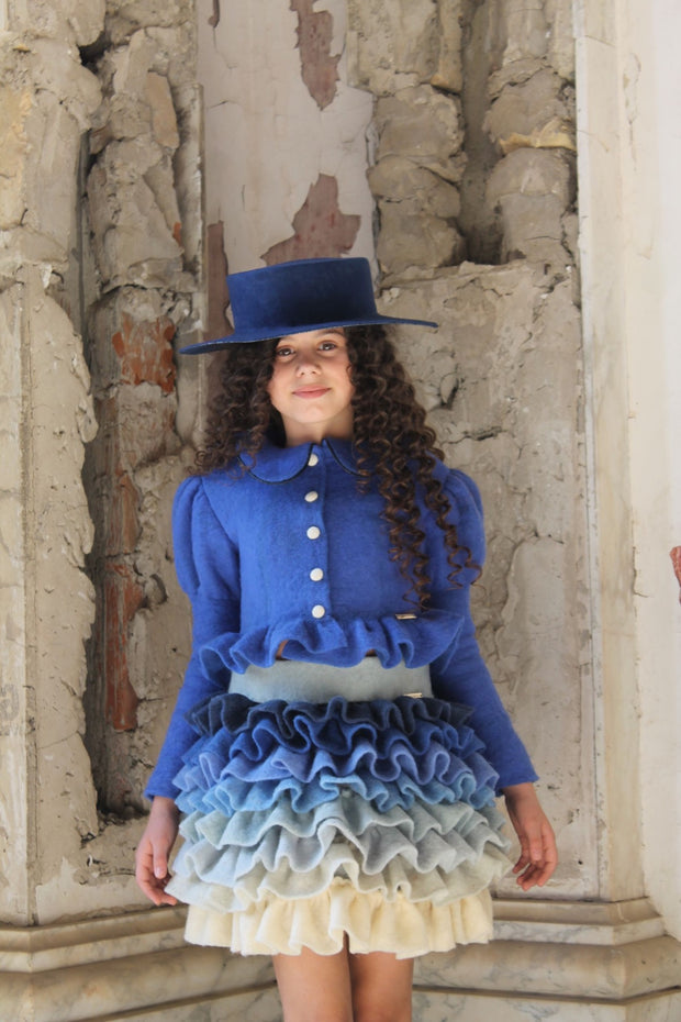 unique handmade short blue felt fall skirt for girls with ruffles in beige, green and blue