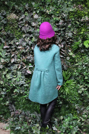 children's clothes - children's coat - kids wear - winter coat - girl coat - kids fashion - girl clothes - green - flowers - felt coat