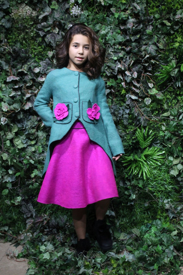 children's clothes - children's coat - kids wear - winter coat - girl coat - kids fashion - girl clothes - green - flowers