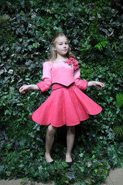 Short, bright pink felt fall jacket for girls, made of natural wool, short with buttons on the sleeves and three 3D felt roses embellishment on one shoulder