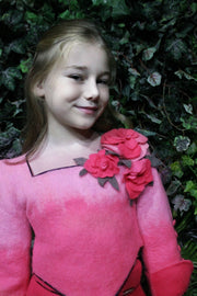 children's clothes - children's jacket - girl jacket - short jacket - black - girl clothes - felt jacket - pink - flowers