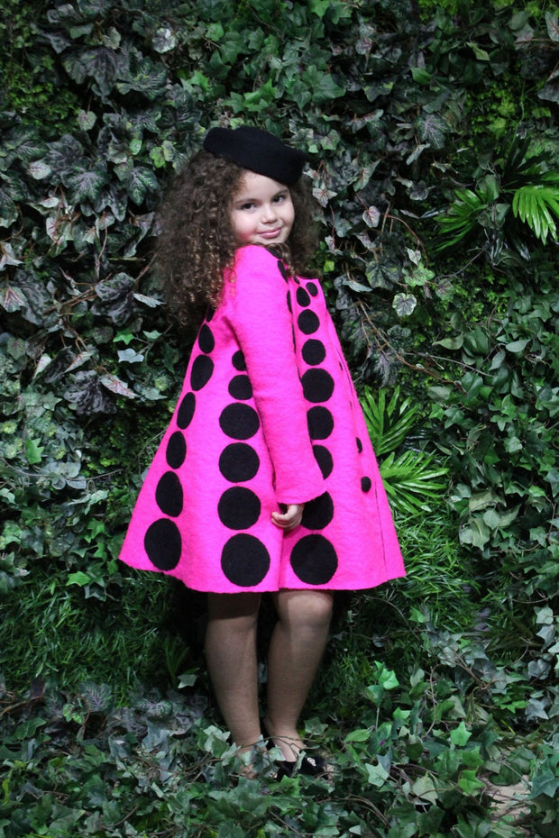 unique, handmade, bright pink coat for girls, made of natural felt wool with black dots pattern