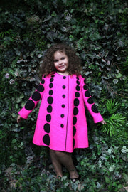 children's clothes - children's coat - kids wear - winter coat - girl coat - kids fashion - baby girl clothes - dot pattern - pink