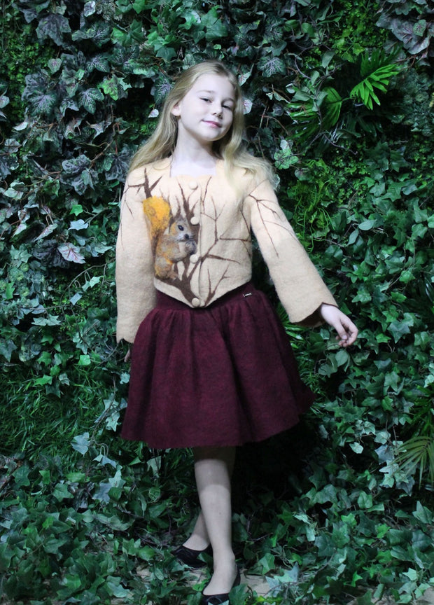 unique, handmade, felt fall jacket for girls, short, beige, made of natural wool with buttons at the front and a brown branch and squirrel motif