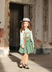 children's clothes - children's jacket - girl jacket - short jacket - green - pattern - girl clothes - felt jacket