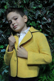 Unique handmade short yellow felt jacket for boys with a black horse pattern