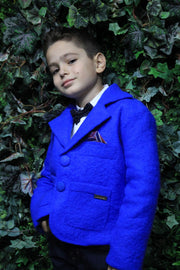 Unique handmade short blue felt jacket for boys with a horse print on the back, buttons and pockets in the front