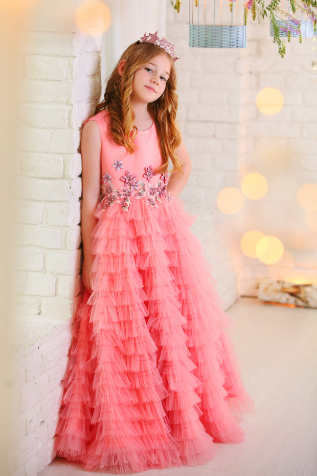 Handmade long pink flower girl princess tulle dress with a long tulle skirt with ruffles and top hand embroidered with flowers and pearls