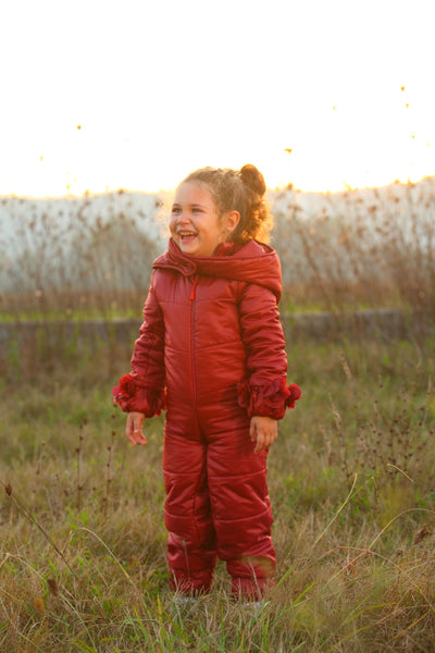 children's clothes - children's winter clothes - children's jacket - children's winter jacket - winter jacket - down jacket - red jacket - down suit - red full body suit