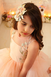 floor-length girl dress with floral embellishment for special occasions