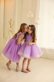 purple tulle girl dress for birthday parties