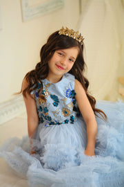 blue girl dress with multi-layer floor length skirt and 3d floral embellishment