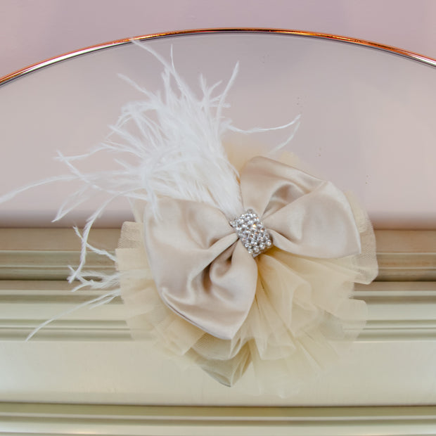 Beige hair clip, hair bow with rhinestones and white feather embellishment