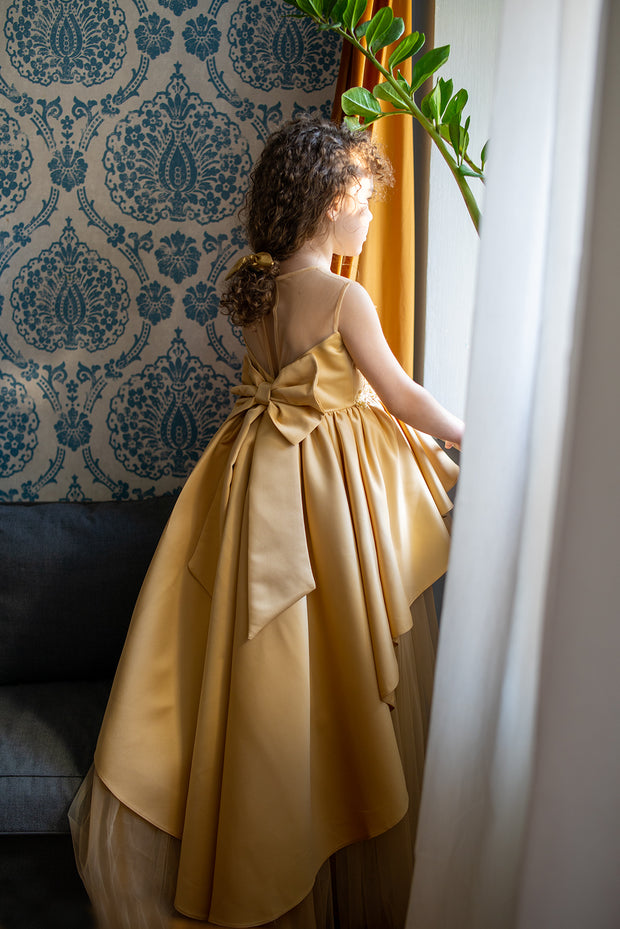 Handmade, festive, girl party dress with a high-low hem, satin train, tulle skirt, floral embroidery and a big satin bow