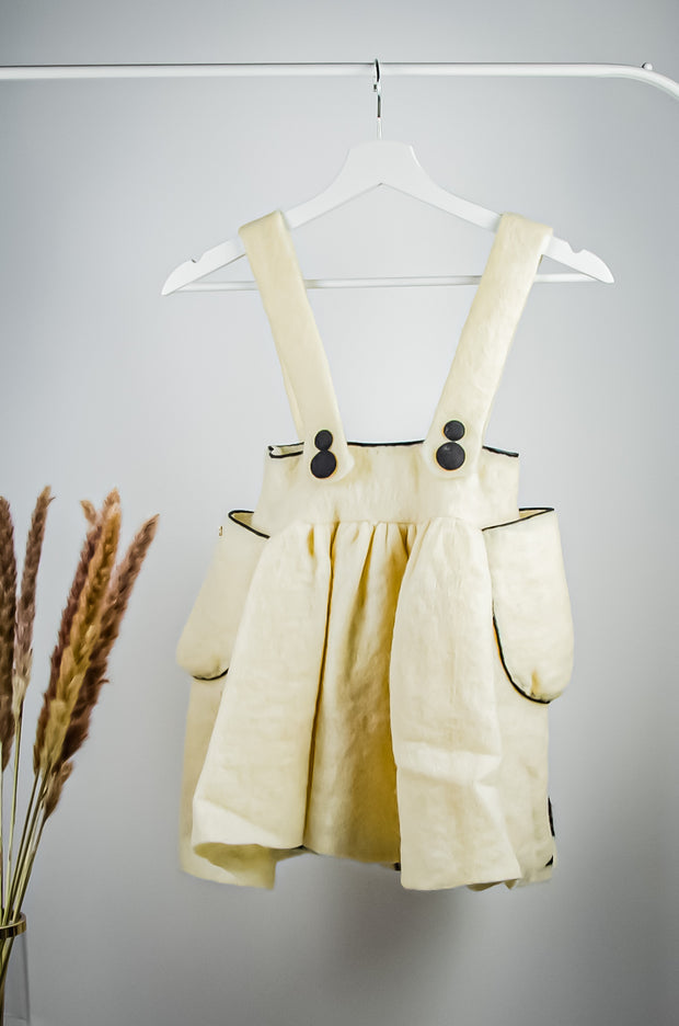 Unique handmade short beige felt skirt for girls with swallows print and two side pockets