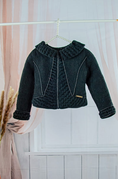 handmade short black felt jacket for girls with a zipper and ruffles details