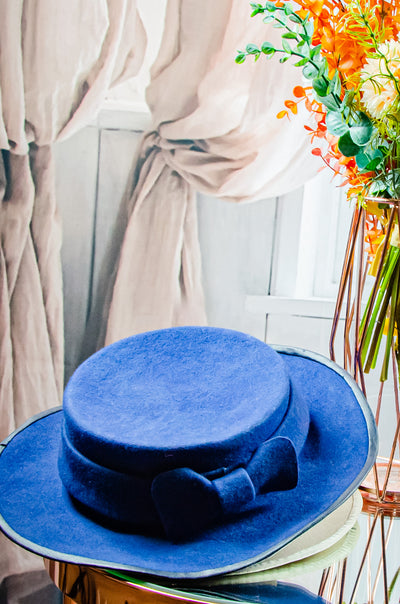 handmade blue felt hat for girls