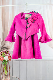 unique handmade short fuchsia felt fall jacket for girls with ruffles on the sleeves, buttons and 3D felt roses