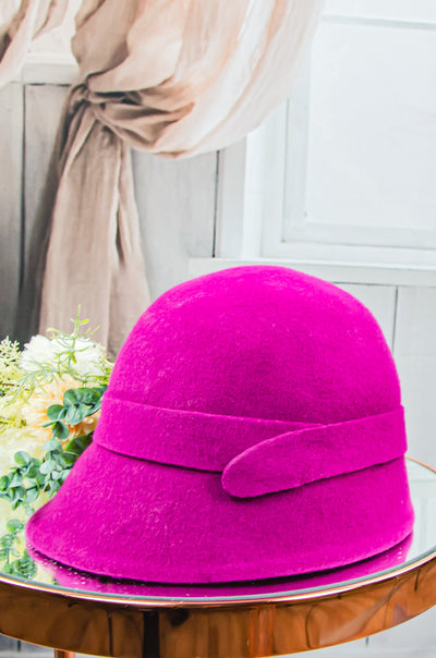 handmade fuchsia pink felt hat for girls