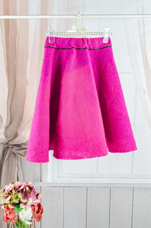 unique handmade midi fuchsia felt skirt for girls, made of 100% natural wool, fall skirt for girls