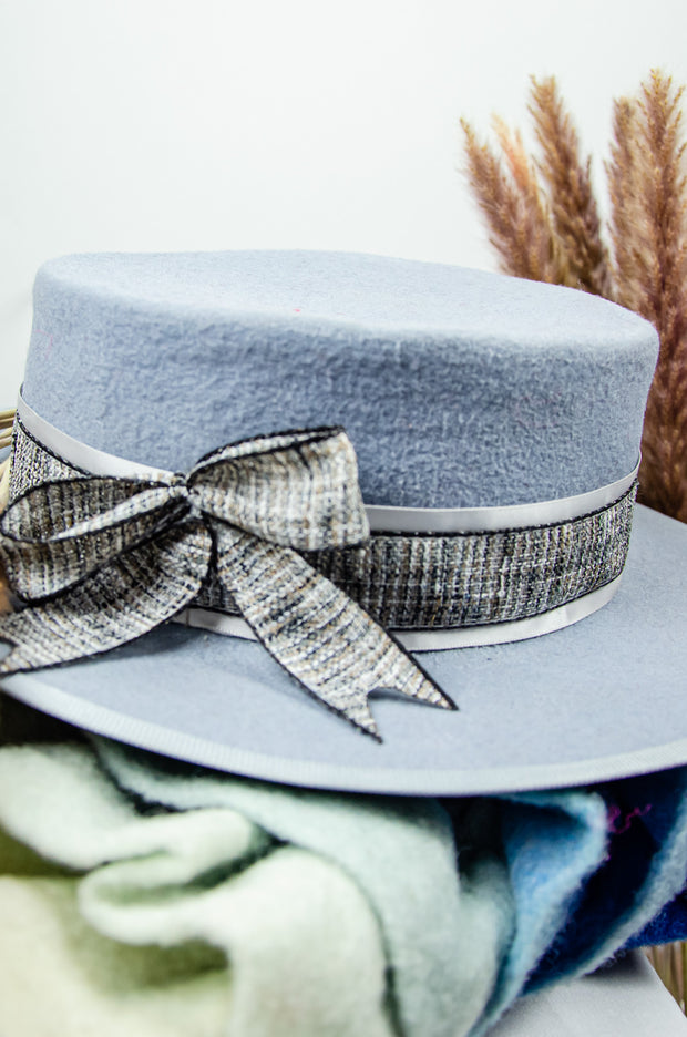 handmade light blue felt hat for girls with a grey ribbon