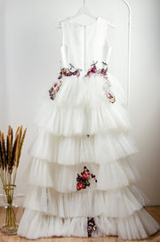 custom made personalised girl dress with a high-low hemline, white tulle skirt and floral sequin embroidery in red and pink