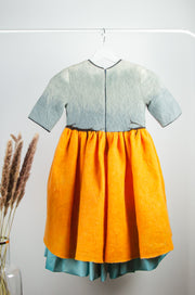 Handmade Felt Dress for Girls with short sleeves, an orange skirt, grey top, turquoise petticoat and 3D bird motif at the waist.