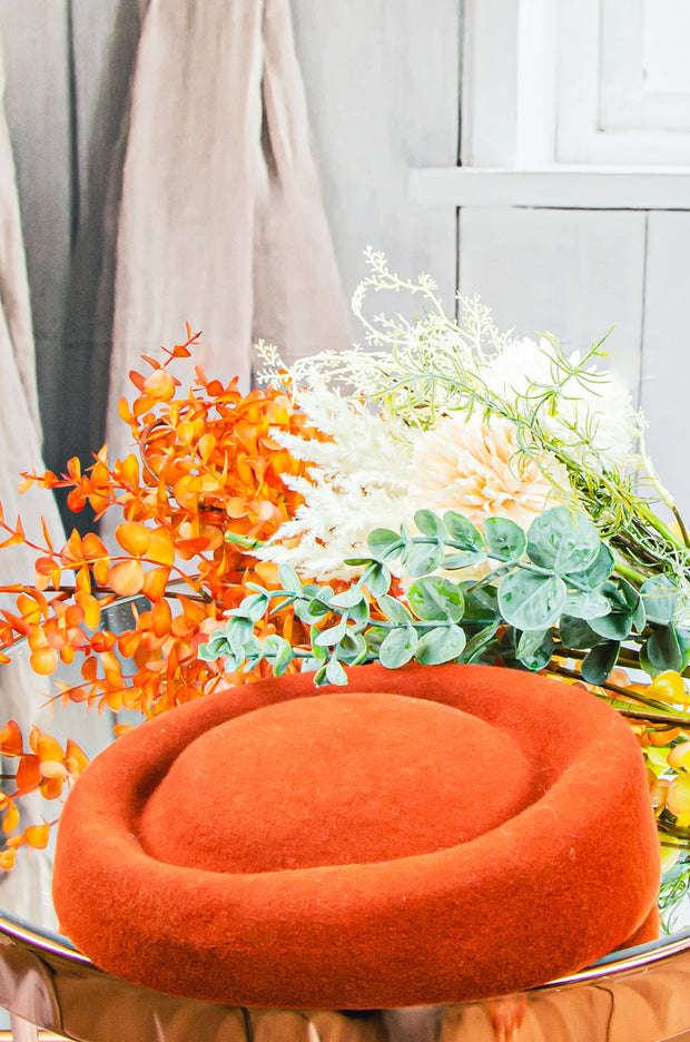 handmade orange felt hat for girls