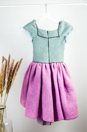 Unique Handmade Pink and Grey short felt fall dress for girls with short sleeves, lilac petticoat, floral motif and a bow at the waist