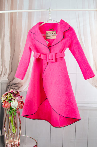 unique handmade long pink felt fall coat for girls with a belt at the waist