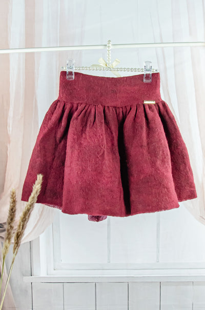 unique handmade short burgundy felt fall skirt for girls
