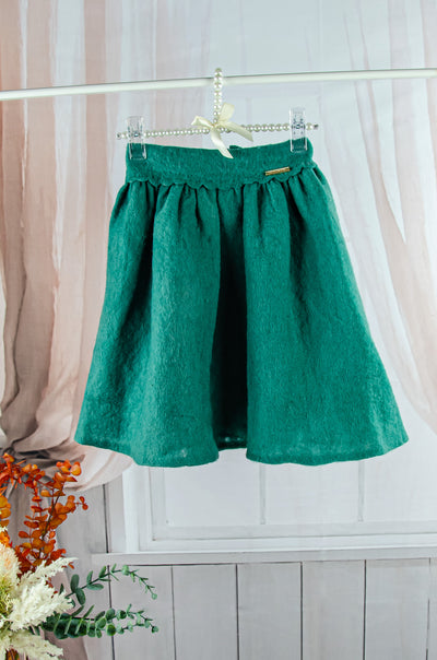 unique handmade short emerald green felt fall skirt for girls
