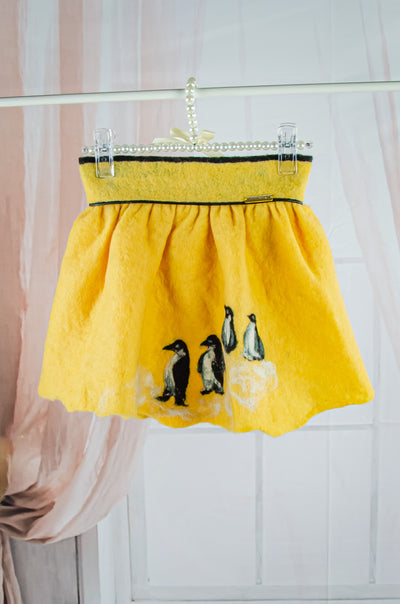Unique handmade short yellow felt fall skirt for girls with a penguin motif