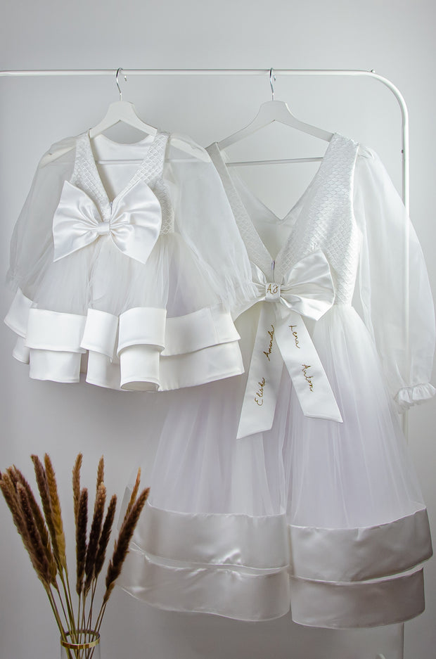 custom made, personalised women's dress, mommy and me, white tulle dress with transparent sleeves and gold embroidery