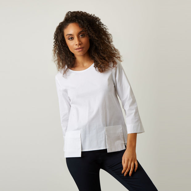james lakeland - clothes for women - pocket top - cotton top - long sleeve top - white top