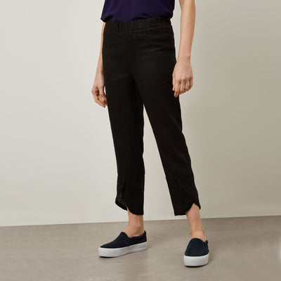 james lakeland - clothes for women - linen trousers - slim silhouette trousers - black trousers