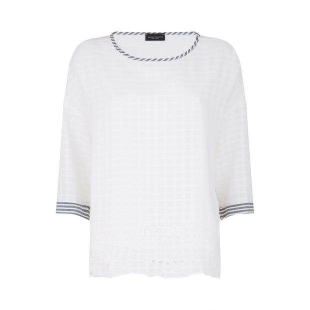 james lakeland - clothes for women - cotton top - white top - sangallo cotton top - summer top